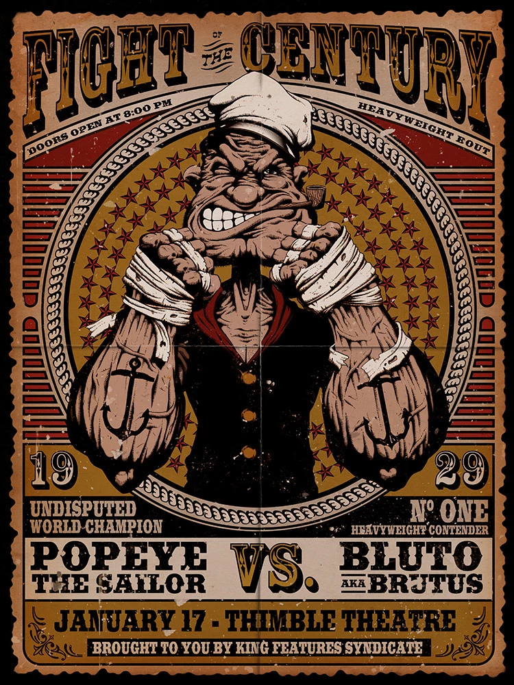 Popeye The Sailor Man Classic Cartoon Fight Of The Century Adult T Shirt