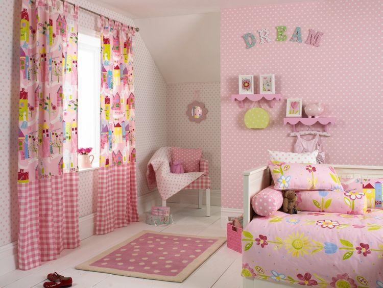 Süßes Mädchenzimmer mit rosa Gardinen mit Naturmotiven Mädchen - Gestalten Rosa Kinderzimmer Kleine Prinzessin