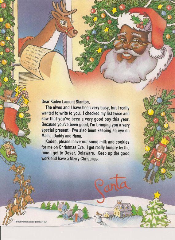 Africian American Santa Claus Letter  Santa