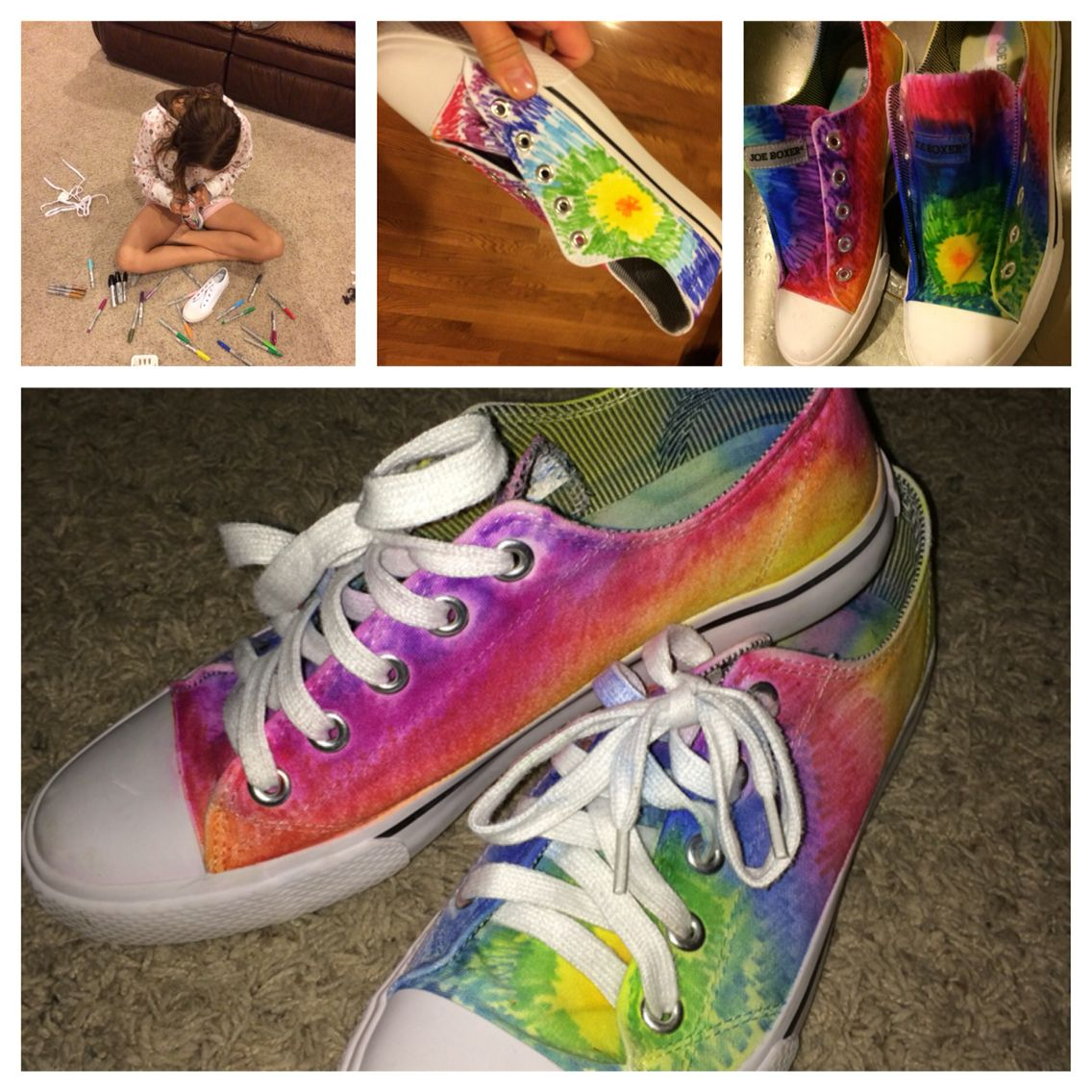 white canvas shoes colored with sharpies. then poor rubbing