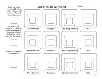Color Schemes Worksheet A Printables, Tutorals