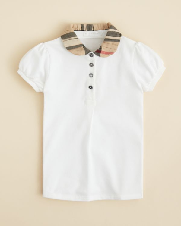 48724c9e1 Burberry Girls  Ruched Check Collar Polo Shirt - Sizes 4-6