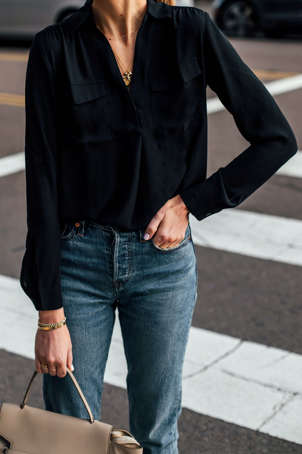 Woman Wearing Black Shirt Blouse Denim Jeans Fashion Jackson San Diego Fashion Blogger Street Style Casual Shirt Women Black Shirts Women Fashion Jackson