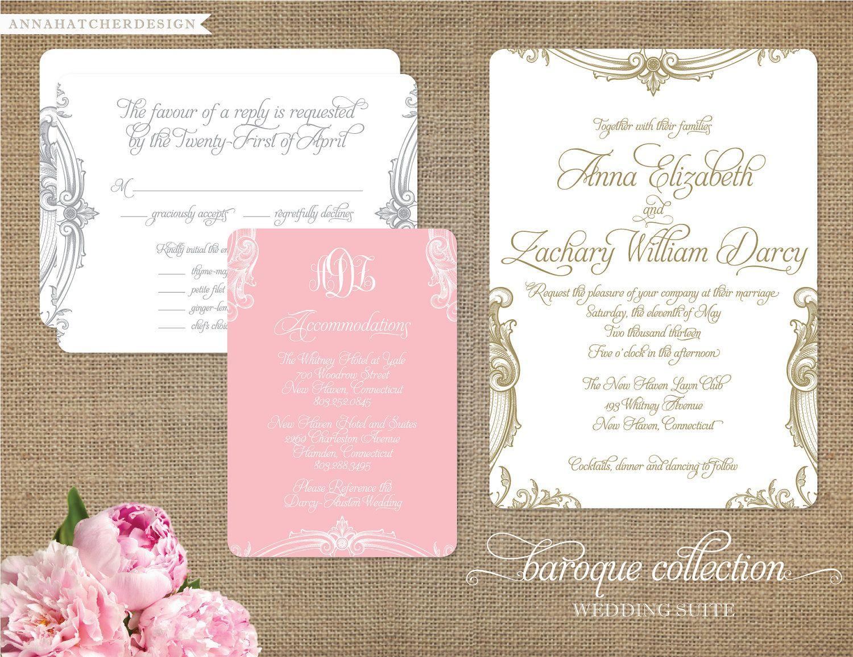 Baroque Wedding Collection - Custom Wedding Invitation, Reply Card, Enclosure Card - Custom monogram - Personalize for your wedding. $75.00, via Etsy.