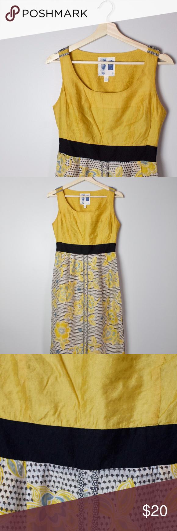 7c5131ce74bc Anthropologie Dress Edme & Esyllte Sheath Dress Lovely goldenrod sheath  dress with black waistband, floral