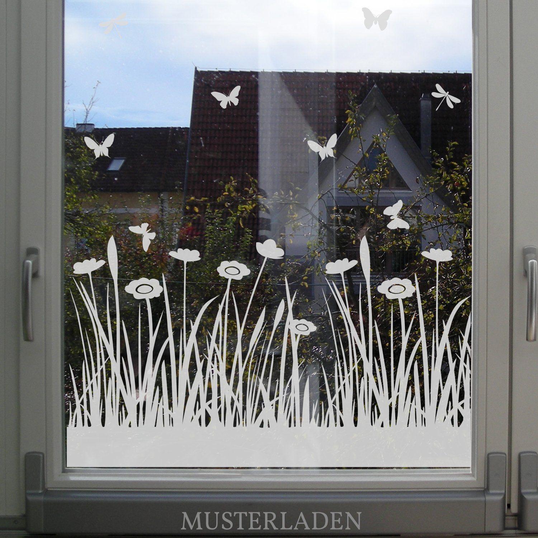 Wiese Mit Blumen Und Schmetterlingen Festerfolie Fensterdekoration Fenster Dekor Fenster Kunst Bemalte Fensterdekoration