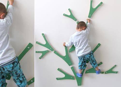 Climbing tree- would be easy to duplicate, make wishbone shaped cutouts in two sizes, arrange in tree pattern