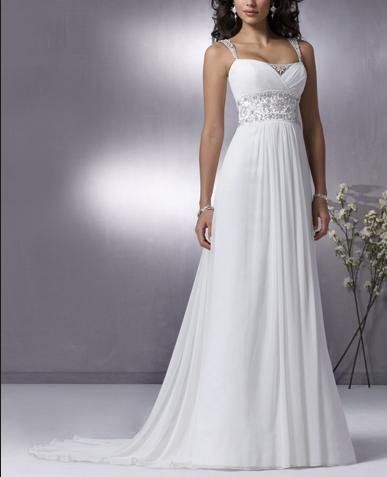 Thin Strap Chiffon Sheath With Straps And Empire Waist [WG1210] - $218.00 : LuxeBlue Quality Discount Wedding Dresses & Formal Gowns, Worlds leading supplier of affordable fashion for Wedding dresses, Bridal gowns and discount formal wear. Safe & Fast delivery world wide.