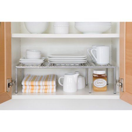 Seville Classics Expandable Kitchen Counter Shelf Organizer Walmart Com Kitchen Cabinet Shelves Shelf Organization Kitchen Decor