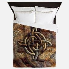 Celtic Rock Knot Queen Duvet Cover for