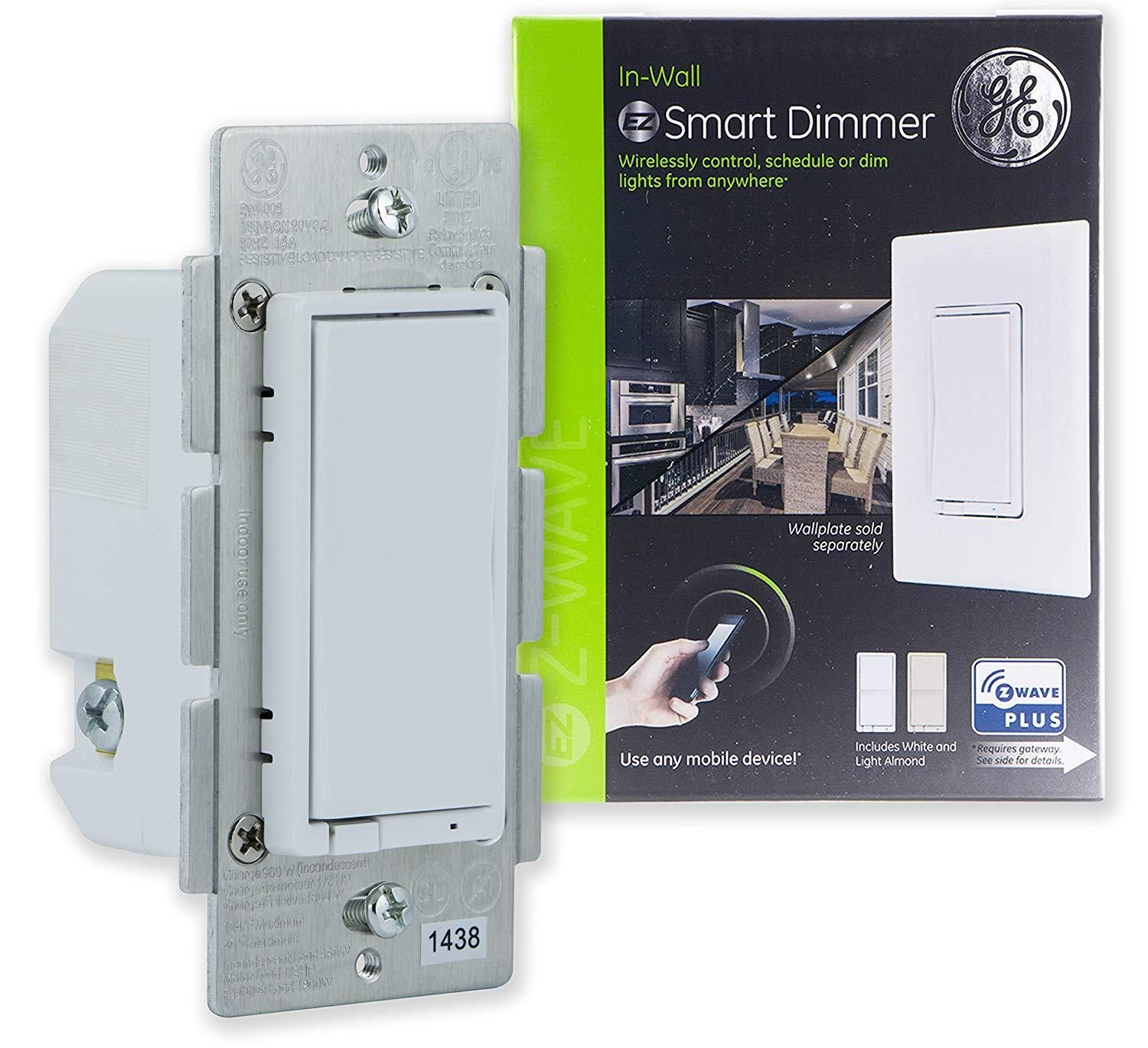 Ge Enbrighten Z Wave Plus Smart Dimmer Switch Full Dimming In Wall Incl White And Lt Almond Paddles Smart Lighting Smart Dimmer Switch Light Dimmer Switch
