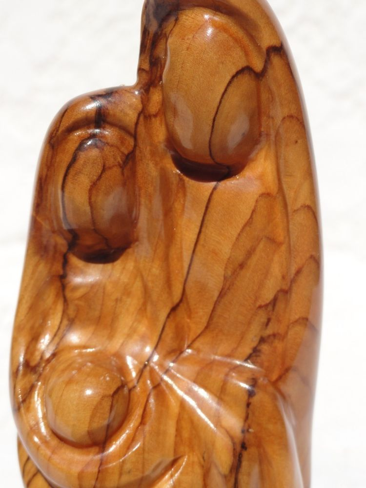 Holy Land Carved Olive Wood Statue Mary Joseph Jesus From Jordan Solid Nativity