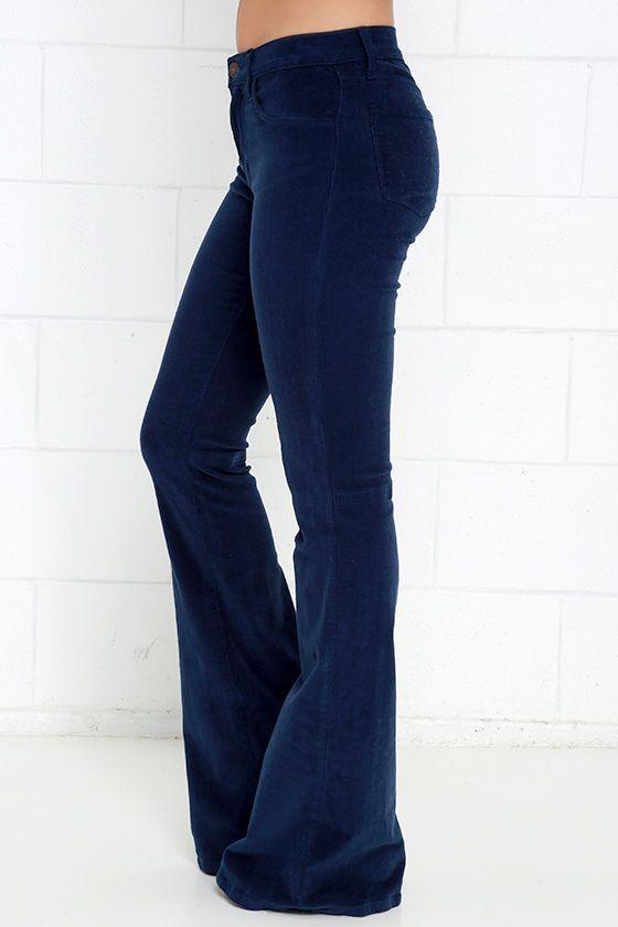 Walking in Memphis Navy Blue Corduroy Flare Pants | Corduroy pants ...