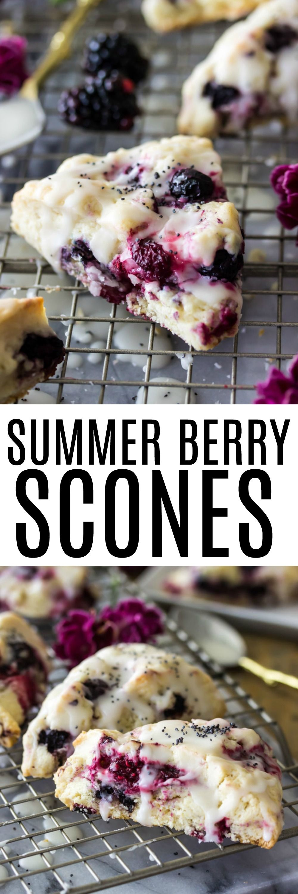 Sweet summer berry scones are buttery scones made with fresh summertime berries, a sunny lemon glaze, and a sprinkling of poppy seeds.