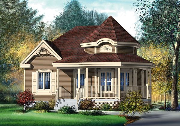 House Plan chp 32065   House ideas   Pinterest   Victorian  House     Gorgeous Tiny Victorian House  974 sq ft  Includes floor plan and you can  order blue print plans