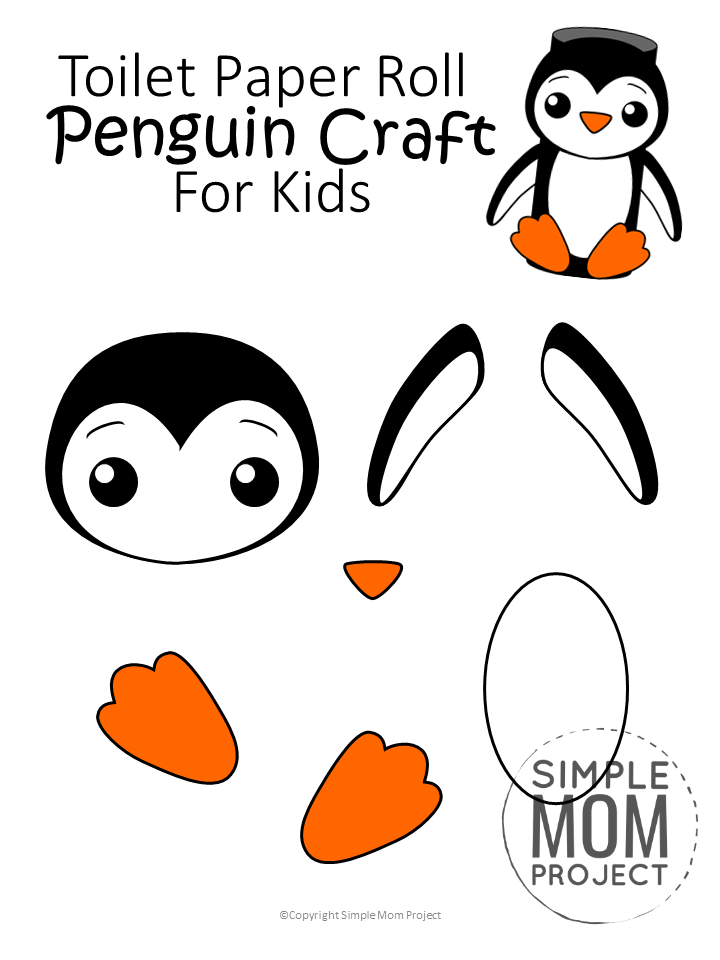 Toilet Paper Roll Penguin : toilet, paper, penguin, Toilet, Paper, Penguin, Printable, Templates, Roll,, Crafts,, Crafts