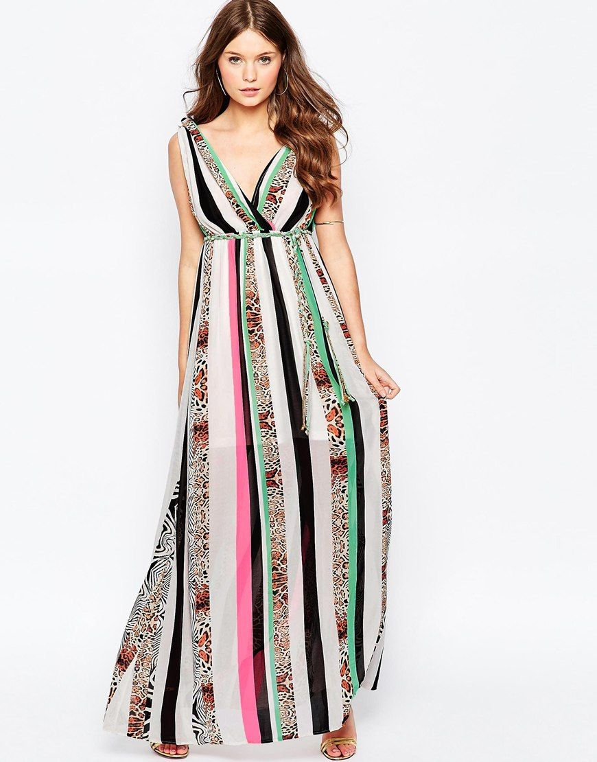 0c1b42d59 Image 1 of Traffic People Jungle Fever Surprise Maxi Dress In Mixed Animal  Print