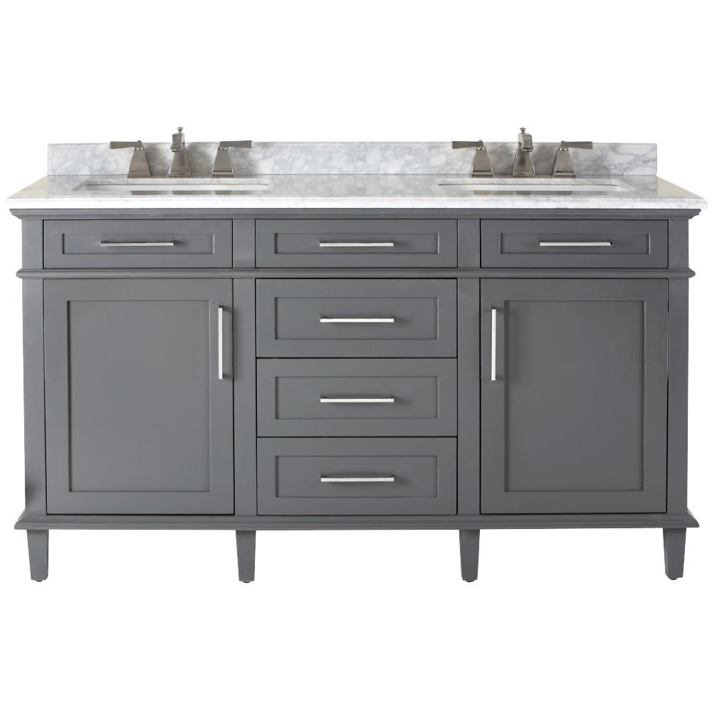 Home Decorators Collection Sonoma 60 In Double Vanity In Dark Charcoal With Marble Vani Home Depot Bathroom Vanity Grey Bathroom Vanity Double Vanity Bathroom
