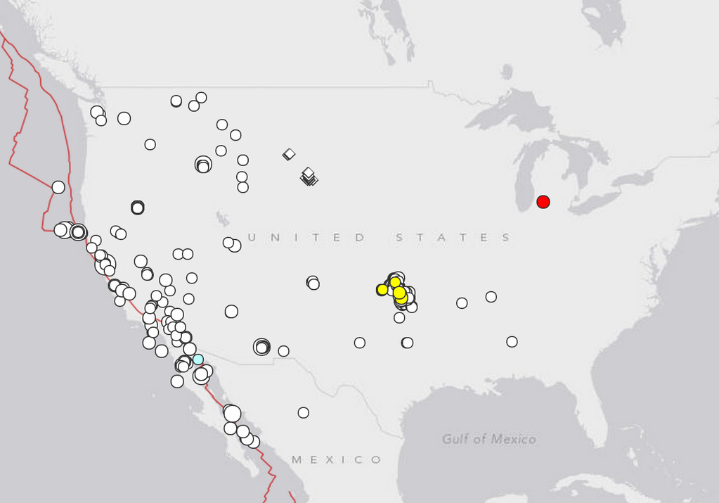 map of last year's 3.5 quakes or greater in lower 48 states (color by age); ~ 90 same size as Michigan's or >