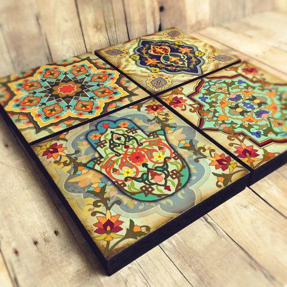 Marokkanische Wand Kunst Set Hamsa Block Set von 4 von Ajobebe