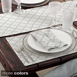 Printed Moroccan Design Placemat Set Of 4 Moroccan Design Table Design Grey Placemats