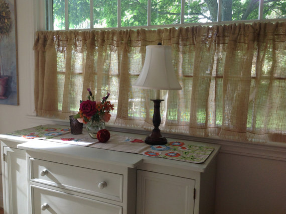 Custom Fringed Burlap Curtain Custom Sizes Ruffled Curtain