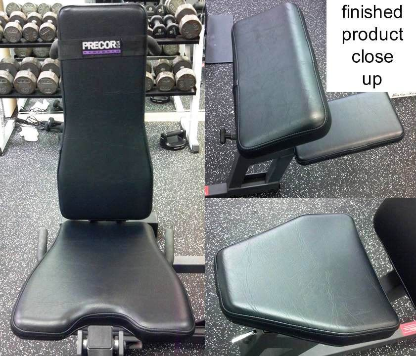 Upholstery repair on gym equipment because the only kind