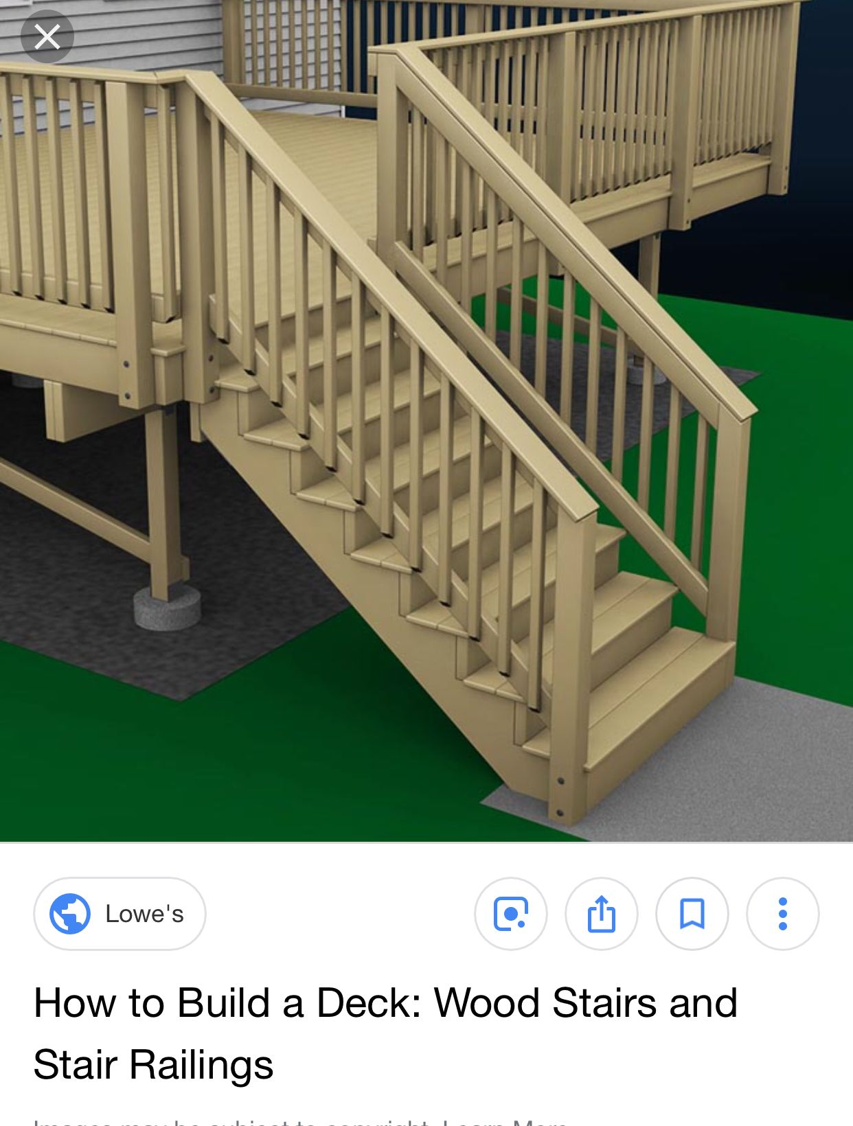 How we want our deck to look Deck stair railing