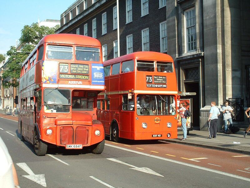 Rml2684 Passes The Solitary Rear Engined Routemaster Frm1 On Euston Road London Bus Routemaster London Transport