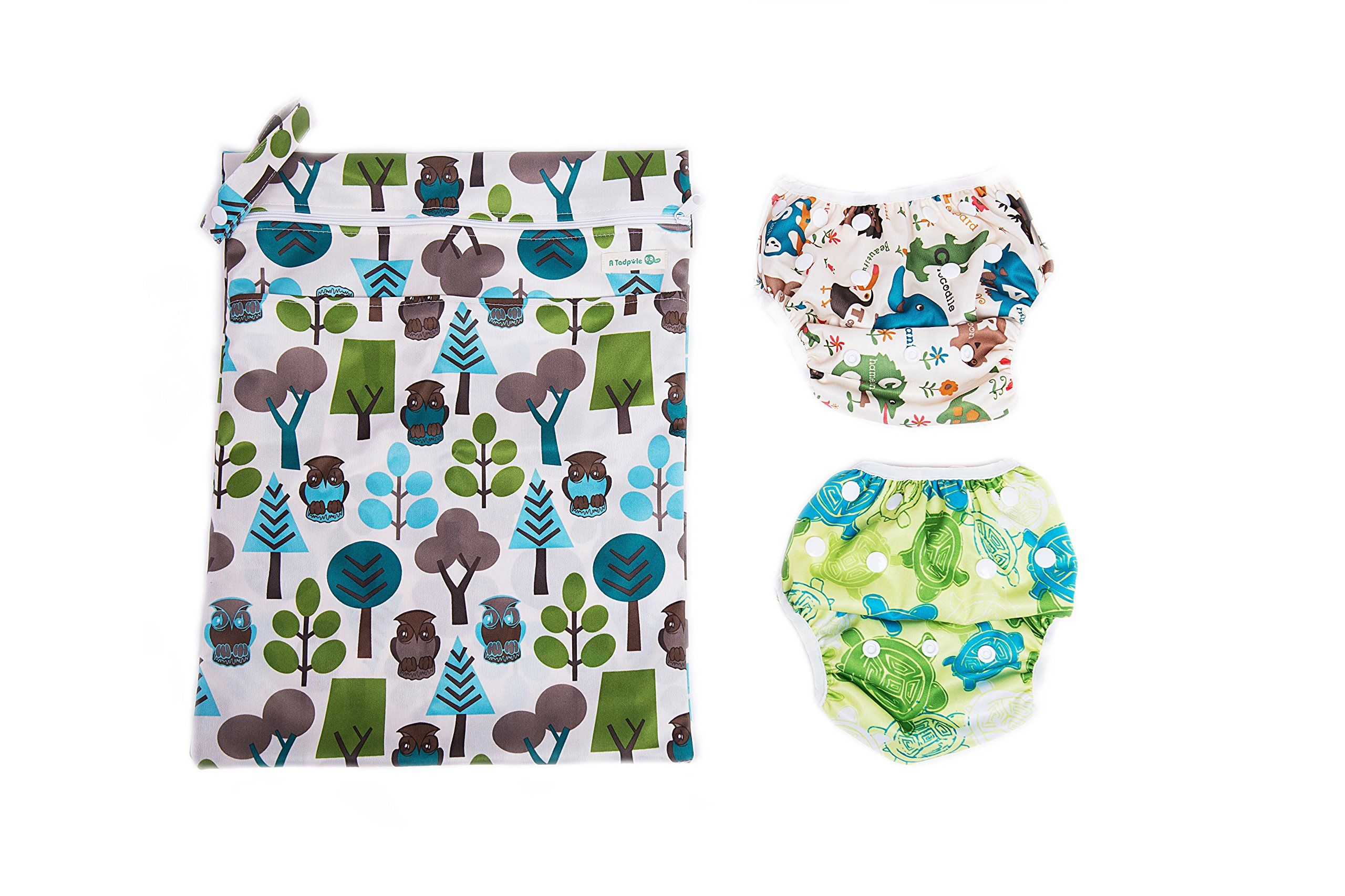 Baby Gift:2 Lovely Swim Diapers/Training Pants And A Free Dry Wet Waterproof Diaper Bag (Baby Turtle And Baby Elephant)