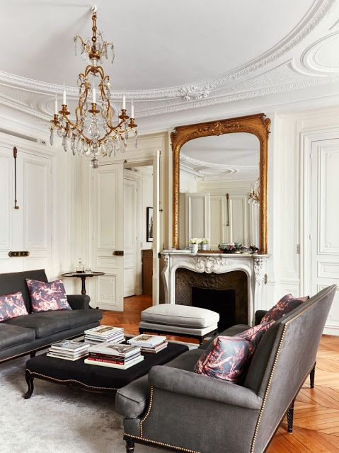 Cococozy paris apartment design perfected living room in  france decorative molding on walls and ceiling carved fireplace also purple interior ideas color schemes wall paint rh pinterest