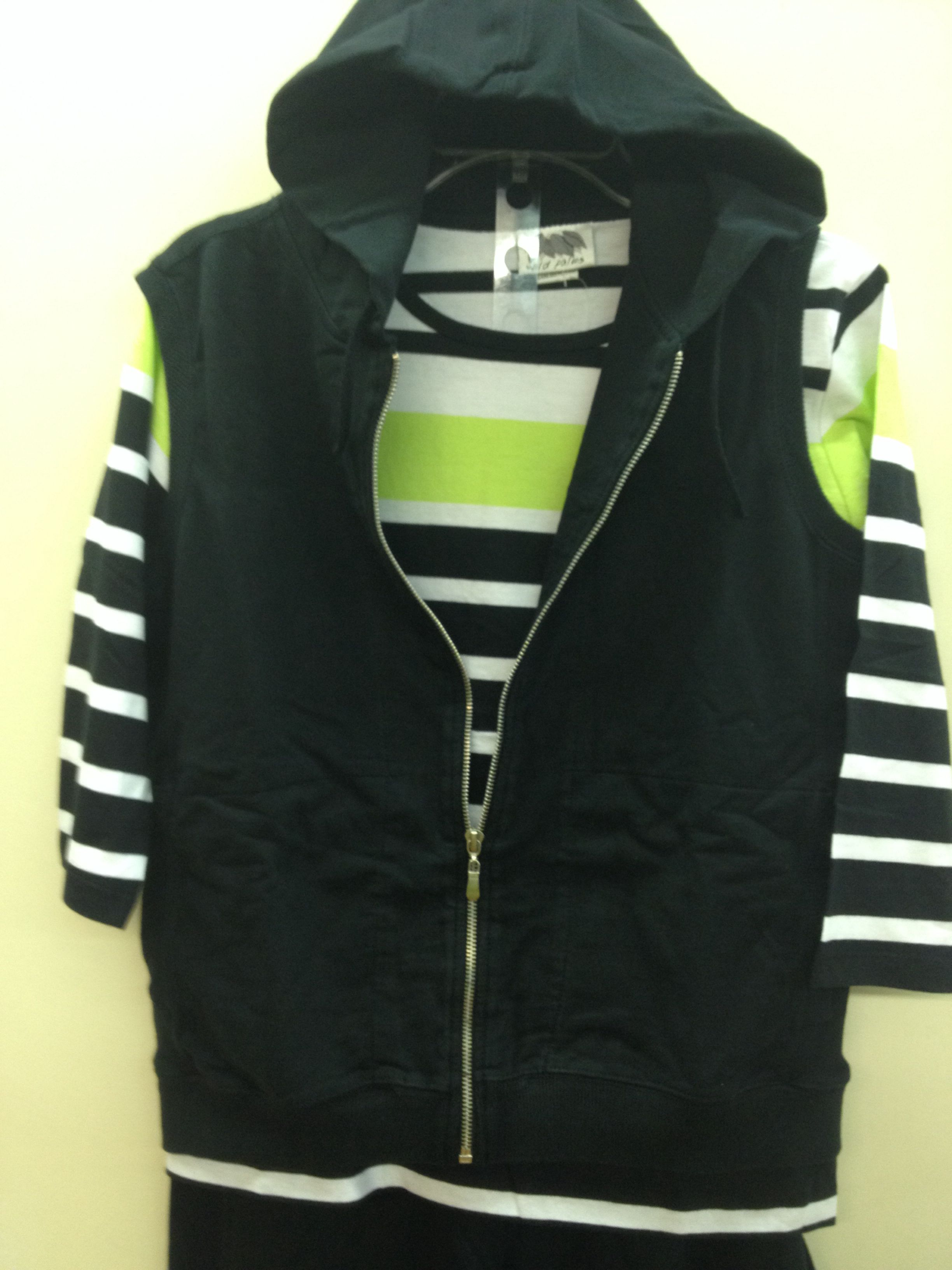 Black zipper vest with striped tee - has matching capri.