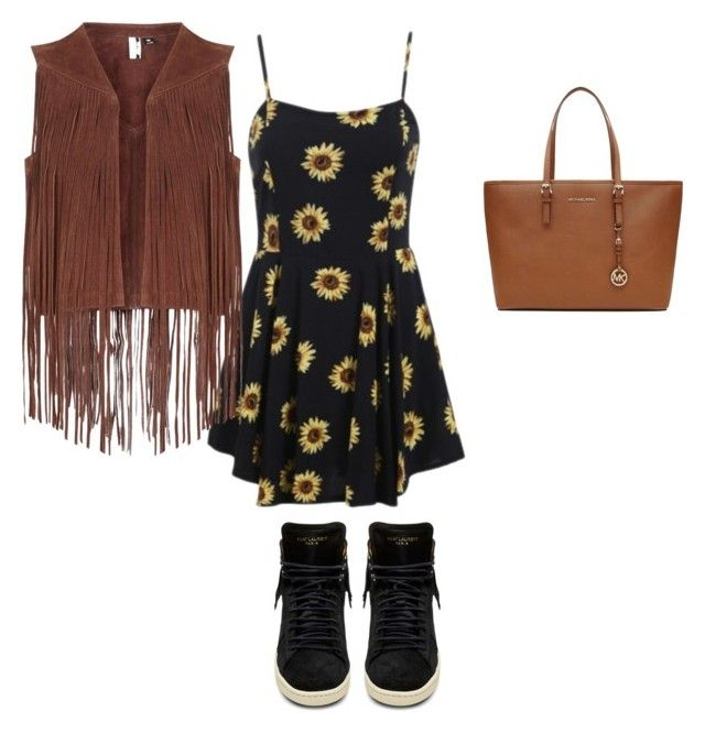 """""""The sunny/sunflower day"""" by kaylee-morrison ❤ liked on Polyvore featuring MICHAEL Michael Kors, Topshop and Yves Saint Laurent"""