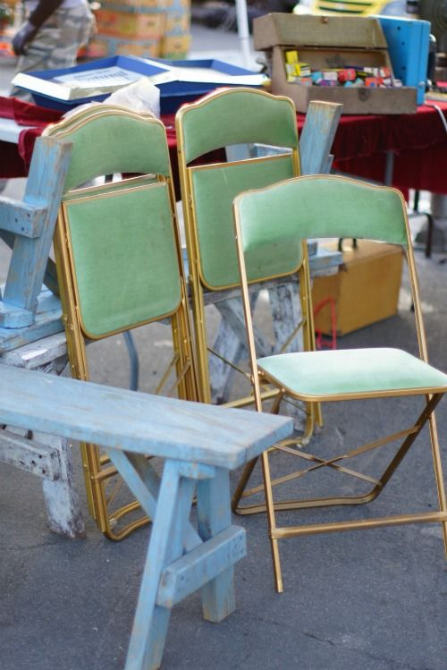 folding chair green bungy cord 4 velvet and gold chairs from the rose bowl for my future breakfast nook 50