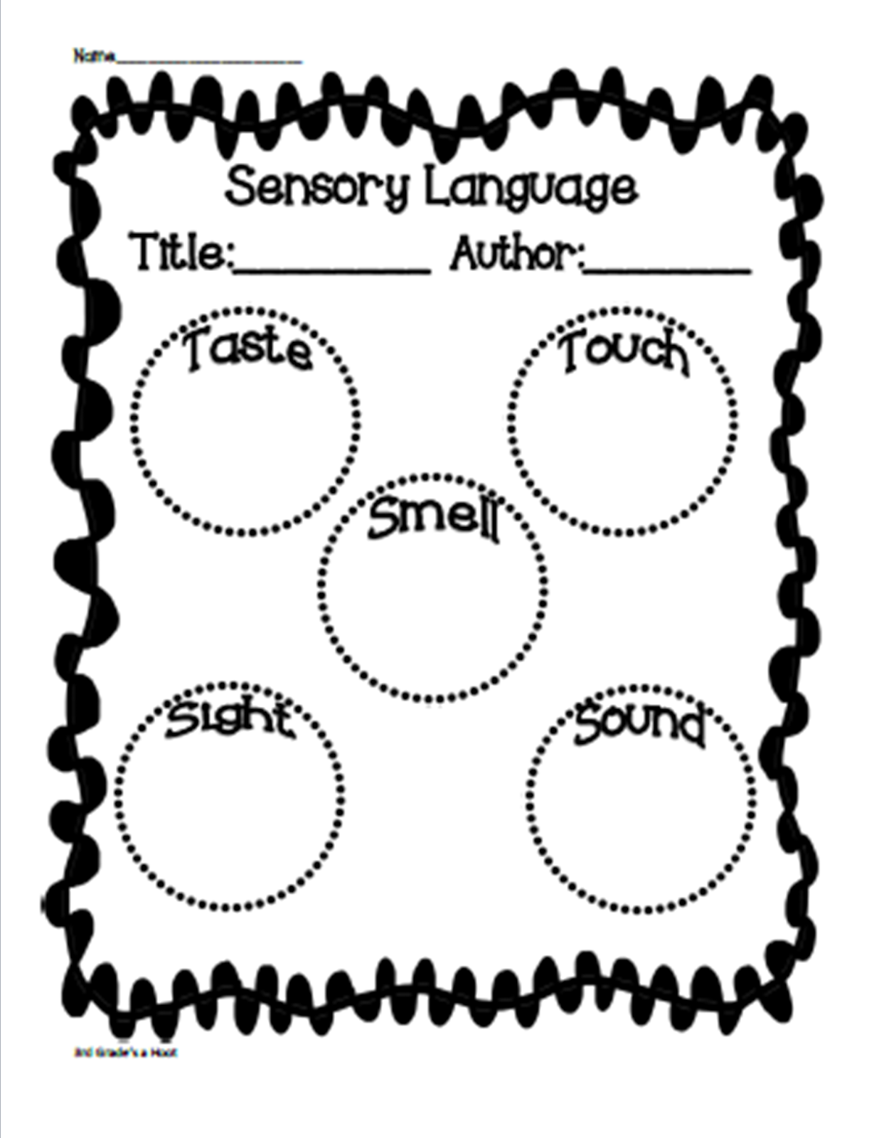 Sensory Language Freebie-3rd Grade's a Hoot   Graphic organizers [ 1600 x 1236 Pixel ]