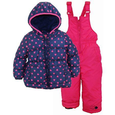 cadc79b42 Pink Platinum Girls Snowsuit Heart Printed Winter Puffer Jacket Ski ...