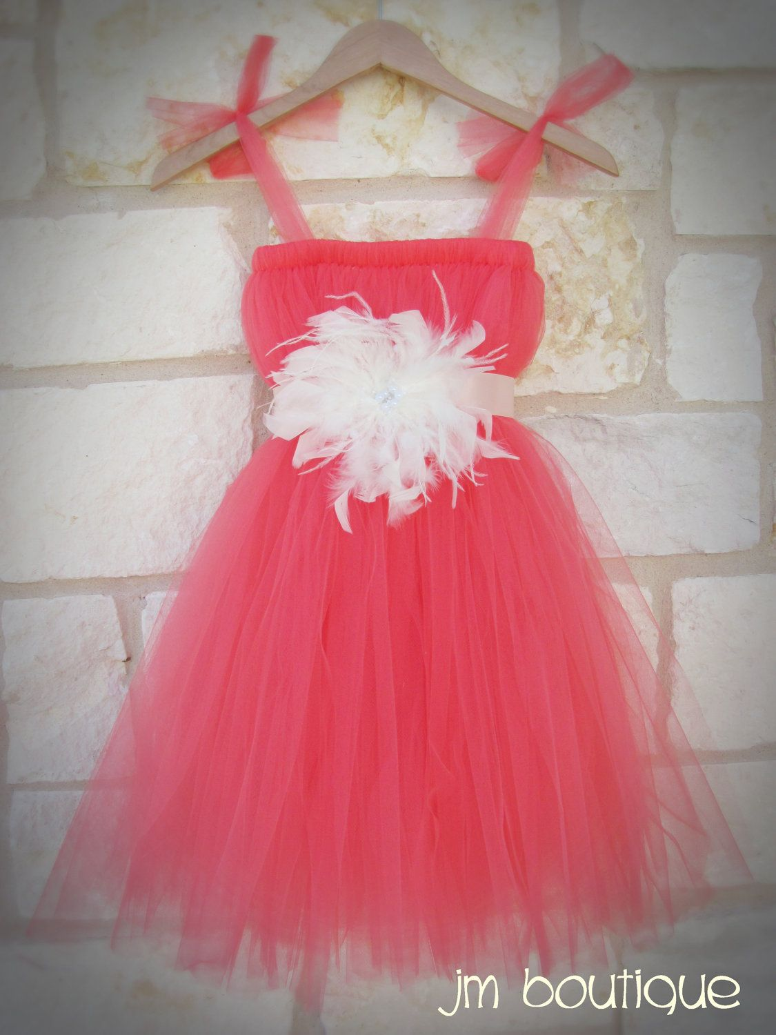 Beach wedding flower girl dresses  Coral Tutu Dress for Wedding Flower Girl Pageant  Mike and Blair