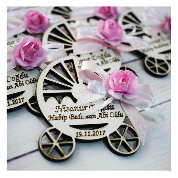 Baby Stroll Wooden Magnets Baby Carriage Favors Stroller Favors