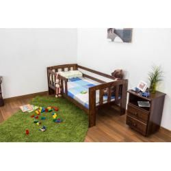 Cot With Fall Protection Solid Pine Wood Nut Colors A17 Incl Slatted Frame Dimensions A17 Colors Cot Dimensions In 2020 Kid Room Decor Kid Bathroom Decor Bed