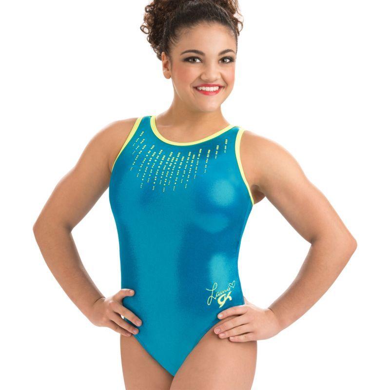 64c85ecc5e4a GK Elite Youth Laurie Hernandez Glo Girl Gymnastics Leotard