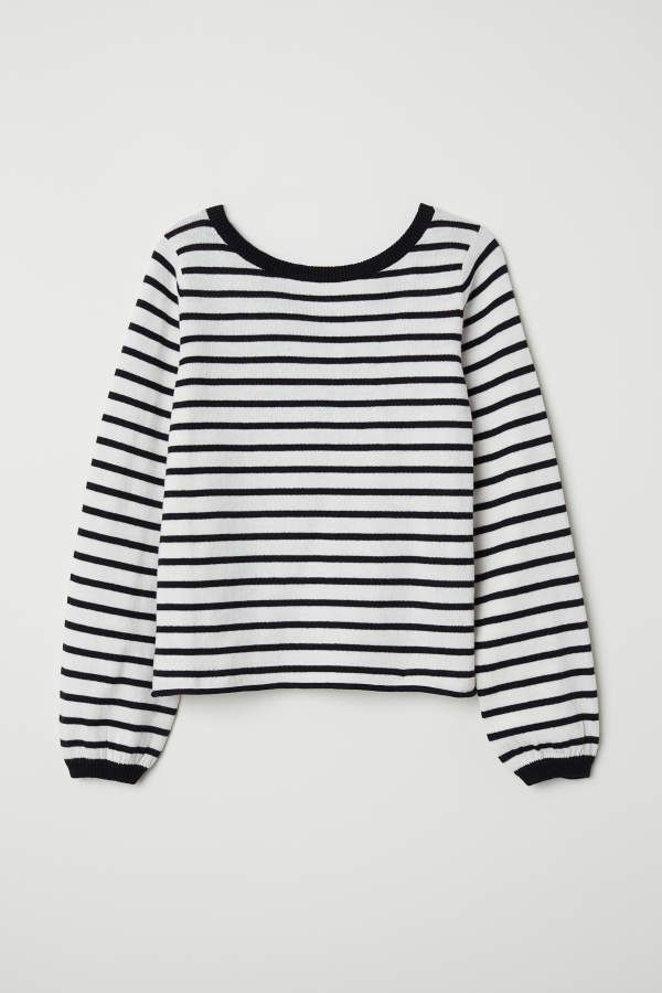 79d14a4e1244 H & M - Fine-knit Sweater - White/striped - Kids #neck#cotton#straps ...