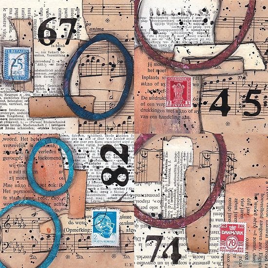 Mixed media collage combi vintage papers