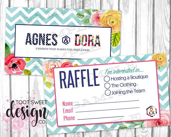 agnes and dora small business raffle ticket raffle business card chevron floral on etsy