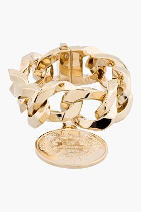 Givenchy Gold Curb Chain Medallion Bracelet