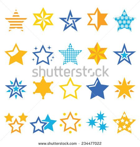 Stars gold and blue vector icons by RedKoala #christmas #xmas #winter