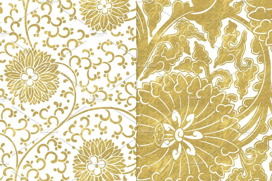 White and Gold Floral Backgrounds Floral background