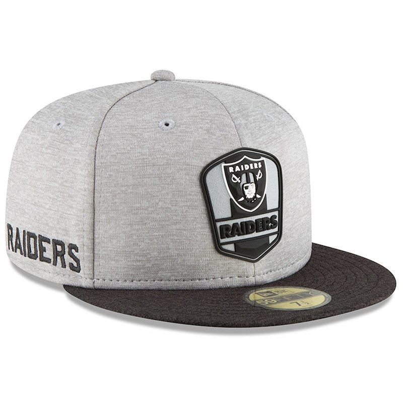 separation shoes 834f6 2d0d2 Oakland Raiders New Era 2018 NFL Sideline Road Official 59FIFTY Fitted Hat  – Heather Gray Black
