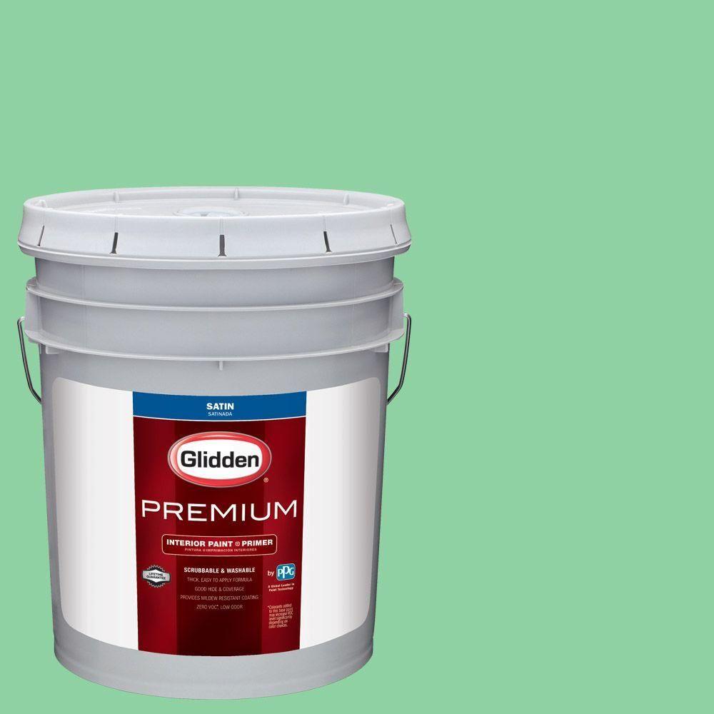 Glidden Premium 5 gal. #HDGG53U Pillow Mint Satin Interior Paint with Primer