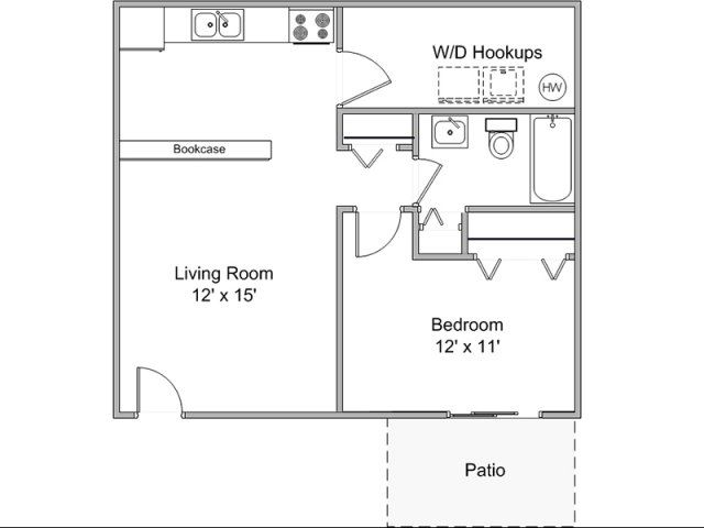 2d floor plan image 1 for the one bedroom one bath floor - 1 bedroom basement apartment floor plans ...