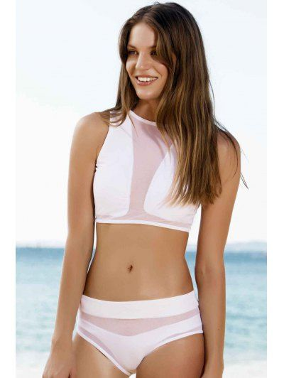34ec90fb5f Round Neck Mesh Design High Waisted Two Piece Swimsuit